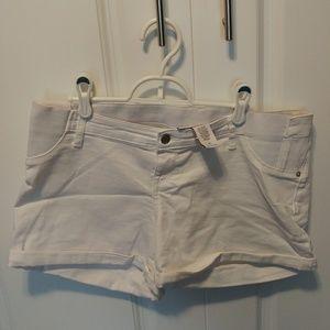 Maternity white jean shorts